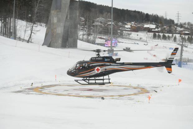 На объектах Зимней универсиады-2019 прошли тестовые полеты санитарного вертолета