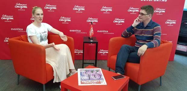 Светлана Ромашина – в пресс-центре «Советского спорта»
