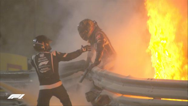 Выживший. Главный героем «Гран-при Бахрейна» стал едва не погибший Грожан (видео)