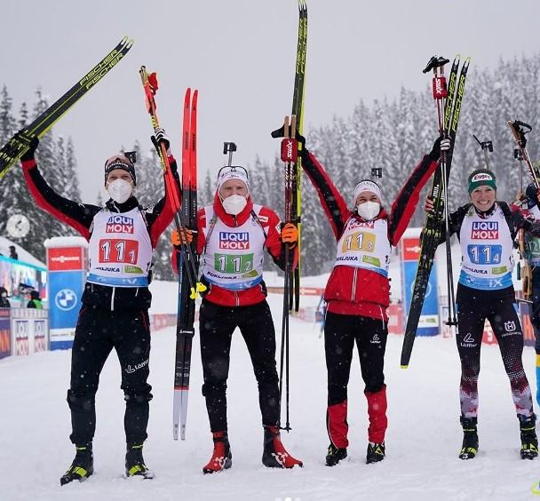 Норвегия выиграла смешанную эстафету на чемпионате мира, Россия – девятая